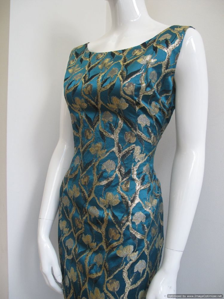 1960 S Teal Blue Satin Brocade Vintage Cocktail Dress Sold